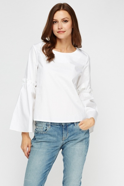 Pleated Flare Sleeve Top