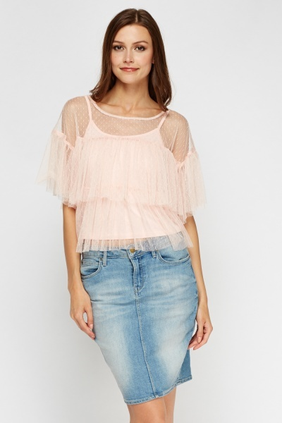 Pleated Mesh 2 In 1 Top