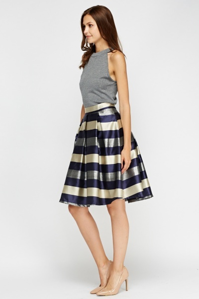 Sateen Striped Contrast Midi Skirt