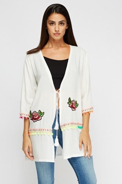 Applique Pom Pom Kimono