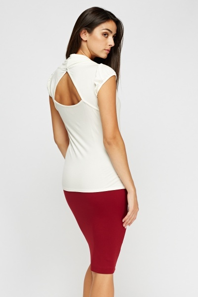 Cut Out Back Cream Top