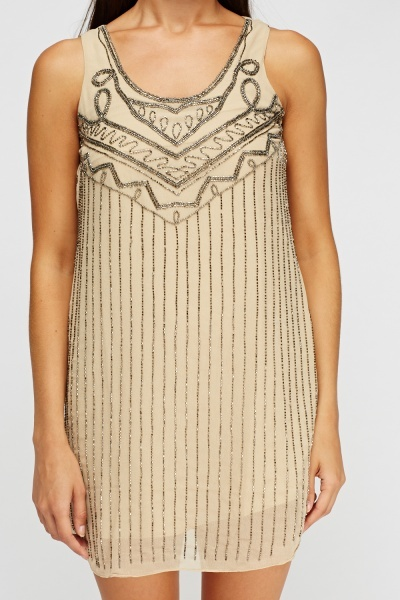 Embellished Sleeveless Shift Dress