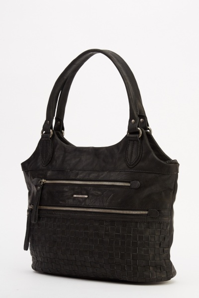 Marco Venezia Leather Ron Zipped Basket Weave Bag