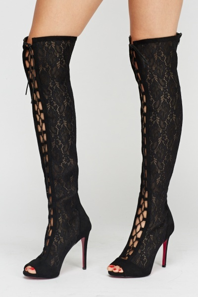 Wlady Mesh Lace Up Over The Knee Boots