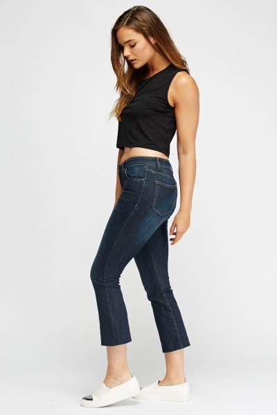 Ankle Cropped Flare Jeans