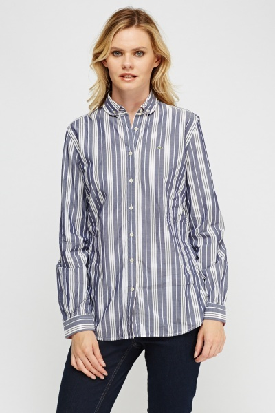 lacoste pinstriped shirt