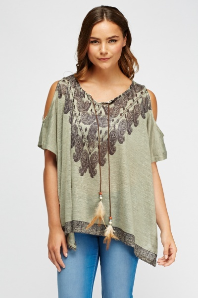 Paisley Print Cut Out Shoulder Top