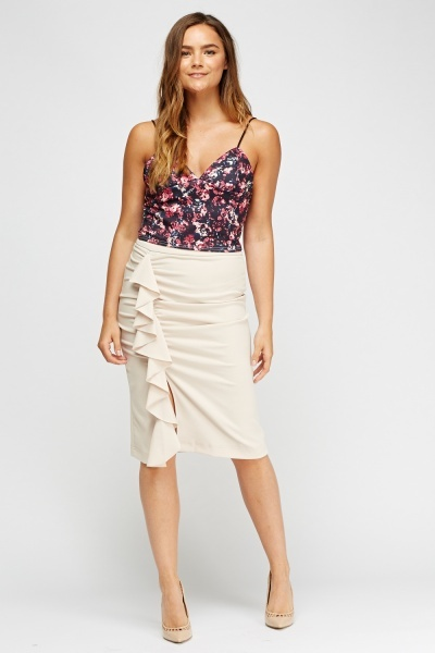 Ruched Side Midi Slit Skirt
