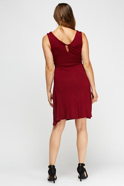 Twist Front Burgundy Dress