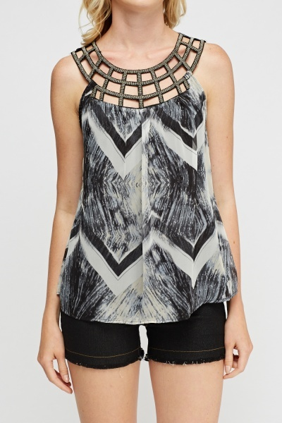 Beaded Neck Printed Top