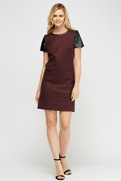 Contrast Sleeve Shift Dress
