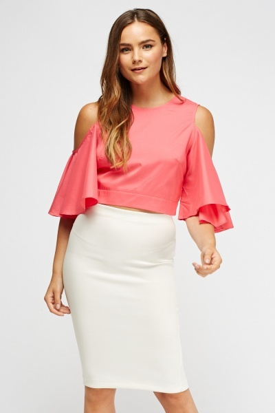 Flared Cut Out Shoulder Top