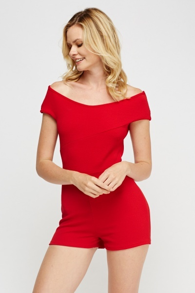 Off Shoulder Mini Textured Playsuit