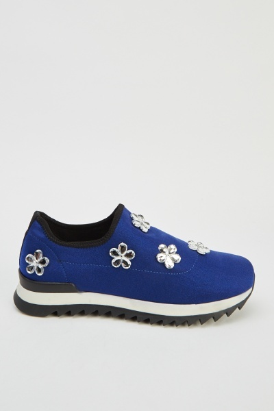 Diamante Floral Slip On Trainers
