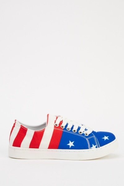 Flag Printed Low Top Trainers