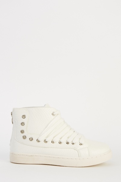 Mock Croc Faux Leather High Top Trainers