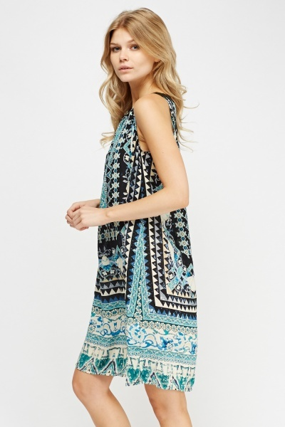 Buckle Neck Printed Dress