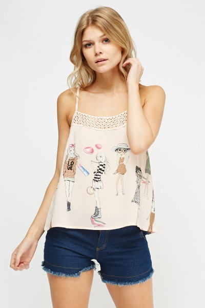Crochet Front Printed Top