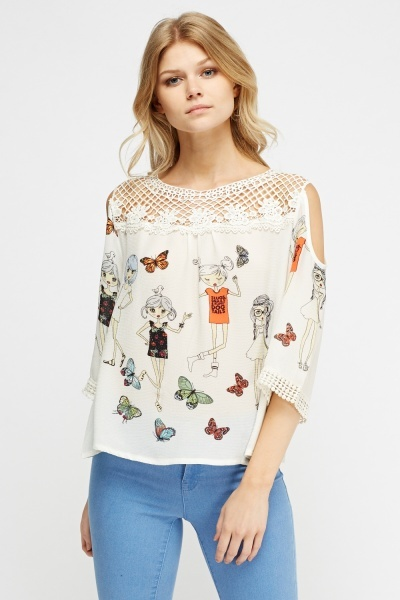 Crochet Trim Printed Top