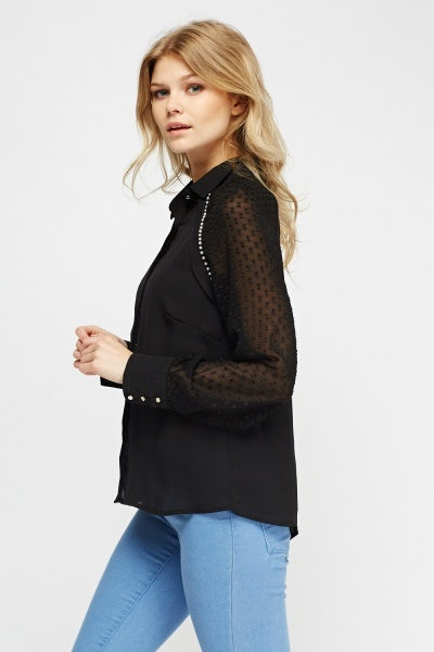 Embellished Sheer Blouse