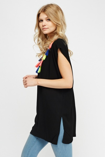 Embroidered Tasseled Cover Up Top