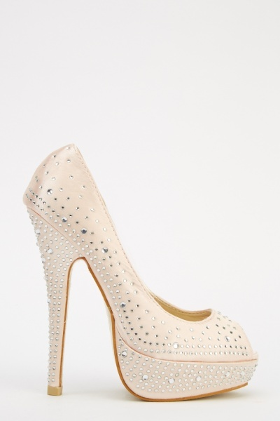 LYDC London Diamonte Peep Toe High Heels