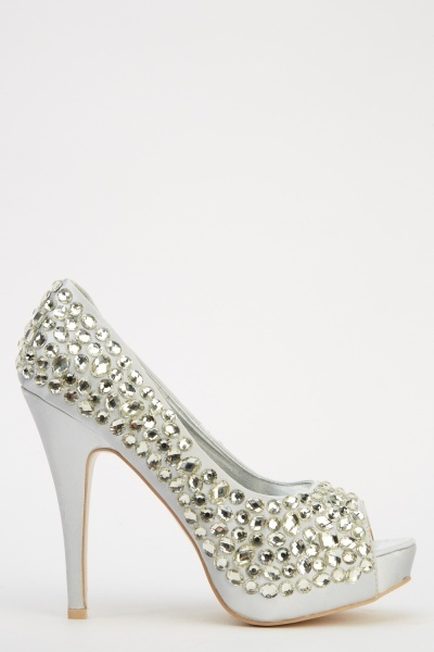 LYDC London Embellished Peep Toe Heels