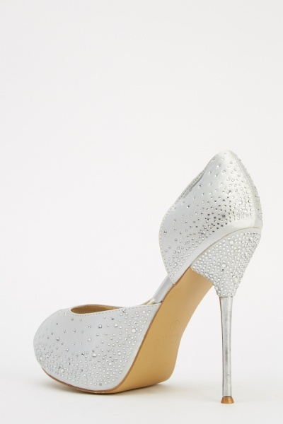 LYDC London Peep Toe Diamonte High Heels