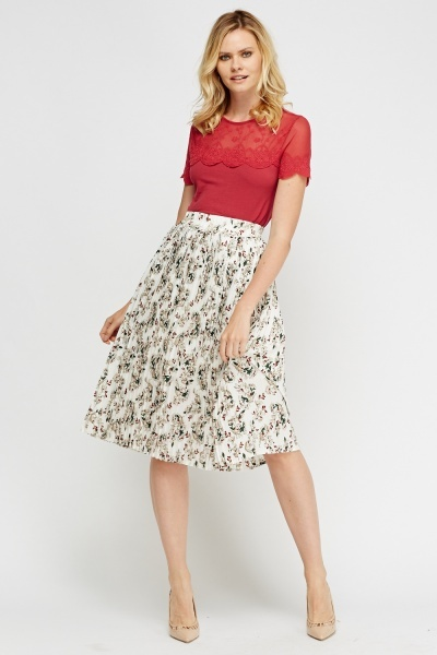 Printed Pleated Midi Skirt
