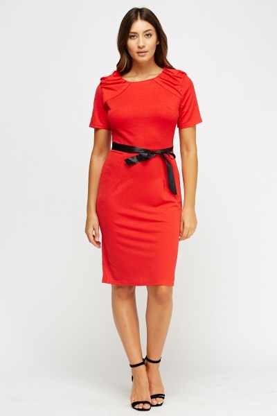 Ruched Midi Belted Dress