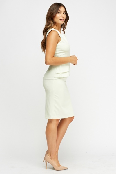 Textured Mint Peplum Midi Dress