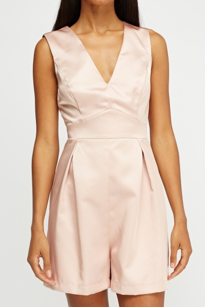 Sateen Textured Dusty Pink Playsuit