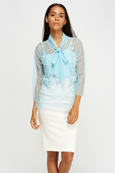 Tie Up Neck Mesh Overlay Blouse
