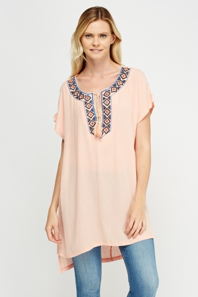 Embellished Contrast Trim Longline Top