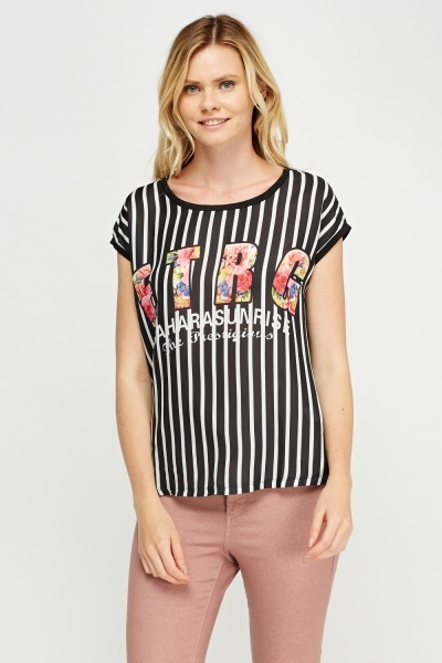 Logo Flower Print Striped Top