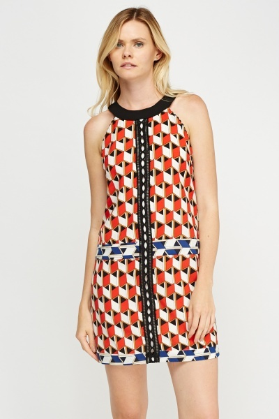 Mesh Insert Contrast Printed Dress