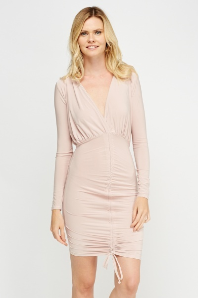 Ruched Plunge Bodycon Dress