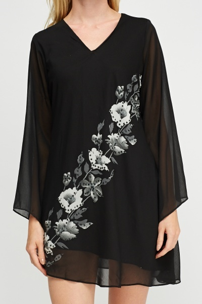 Sheer Mini Flower Print Dress