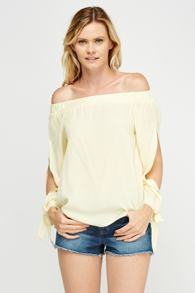 Tied Sleeve Off Shoulder Top