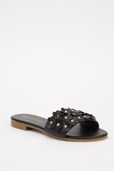 3D Flower Diamonty Flat Sandals