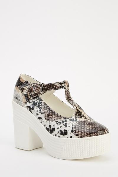 Animal Print T-Bar Platformed Shoes