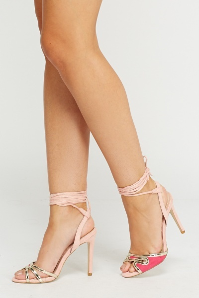 Detailed Tie Up Sandal Heels