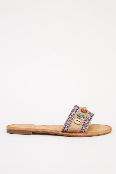 Embroidered Flat Sandals