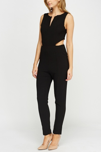 Cut Out Side Black Jumpsuit