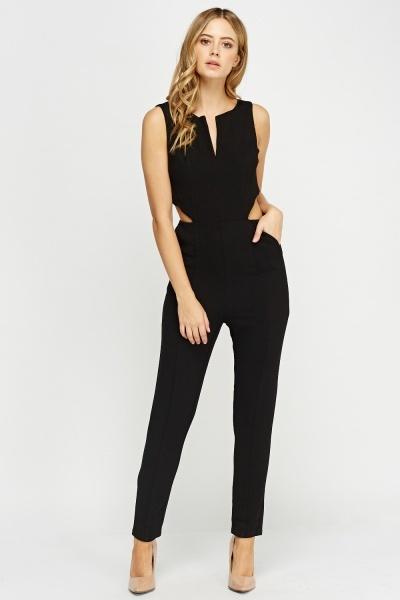 Cut Out Side Black Jumpsuit - Just U00a35