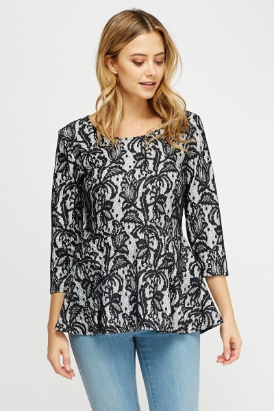 Lace Overlay Peplum Top