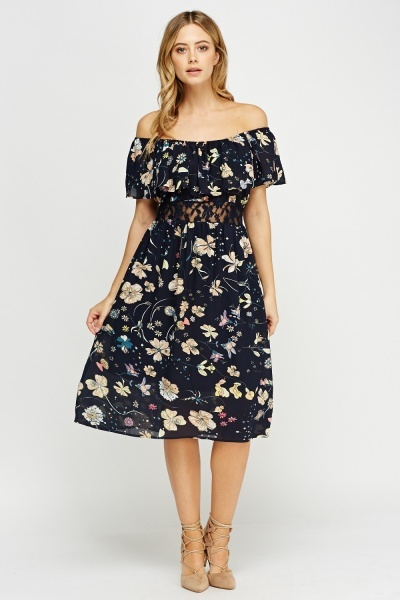 Off Shoulder Lace Insert Midi Dress
