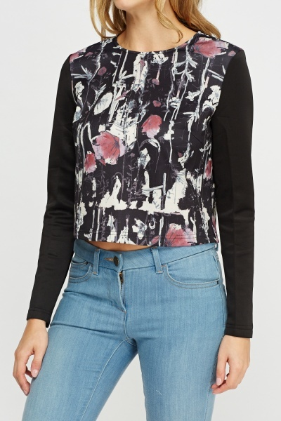 Printed Long Sleeve Crop Top