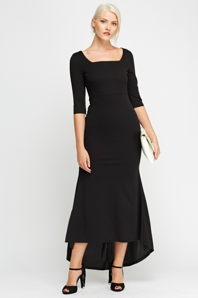 Black Dip Hem Casual Dress