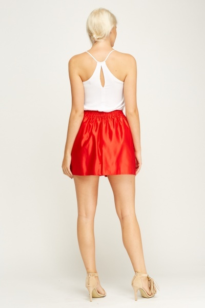 Box Pleat Red Skirt